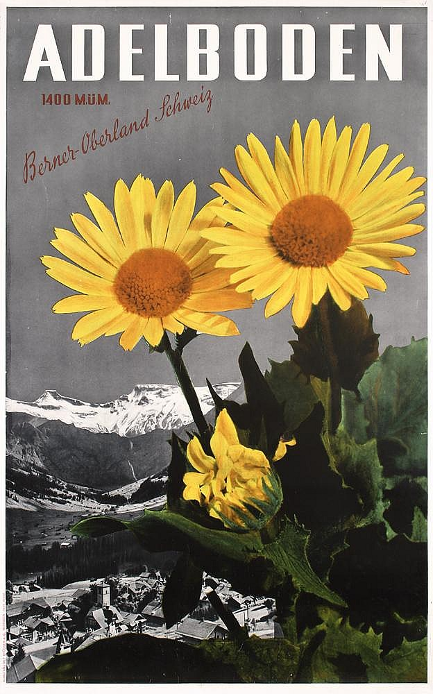 Original 1930s Swiss Travel Poster Plakat Adelboden