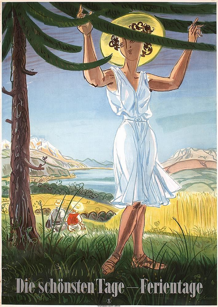 large ORIGINAL 1940s Swiss Travel Poster Plakat Steiner