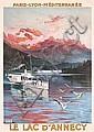 RARE Original 1905 ALESI Le Lac D´Annecy Travel Poster, Hugo