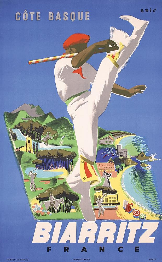 Old Original 1940s BIARRITZ Basque Coast Travel Poster
