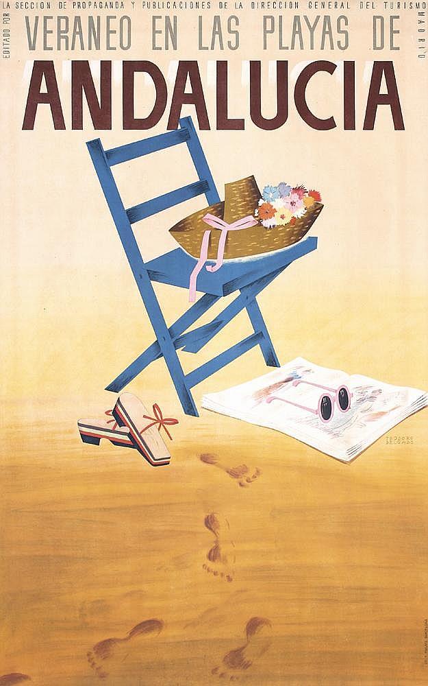Original 1940s/50s Spain Beach Travel Poster ANDALUCIA