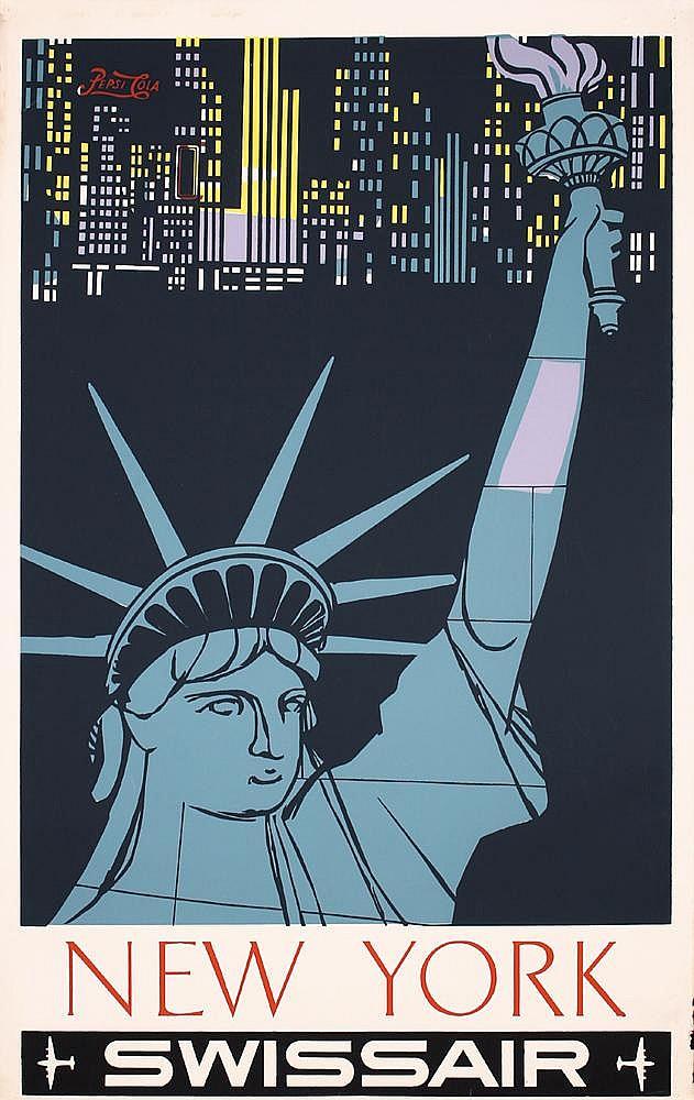 Original 1950s Swissair Travel Poster NEW YORK Skyline