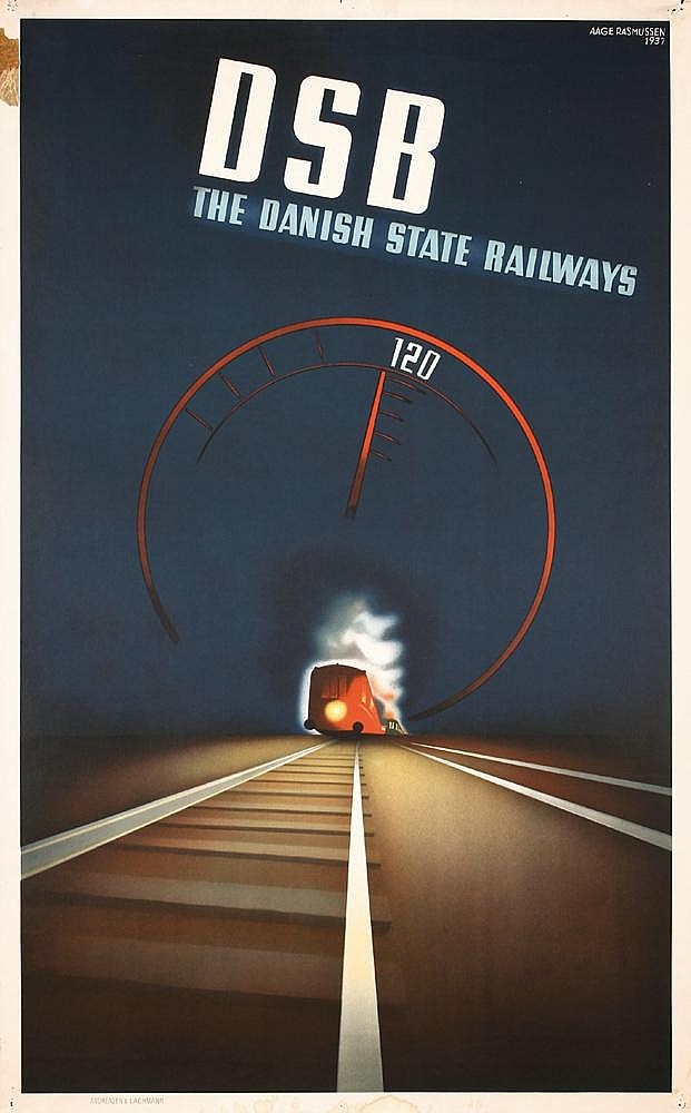 GREAT Old Original 1930s Art Deco Railway Travel Poster