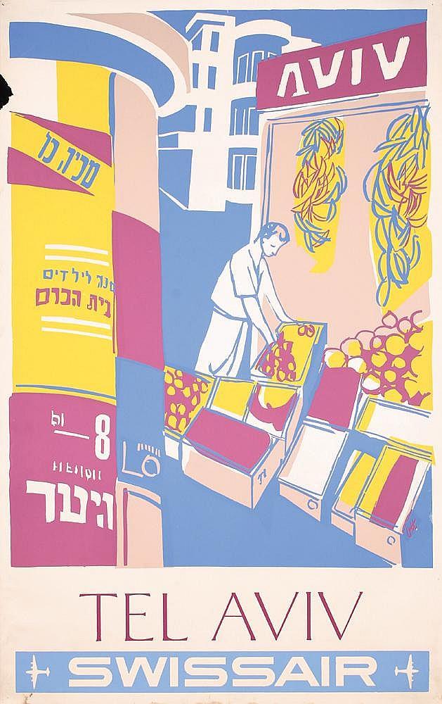 Original 1950s Swissair Travel Poster TEL AVIV ISRAEL