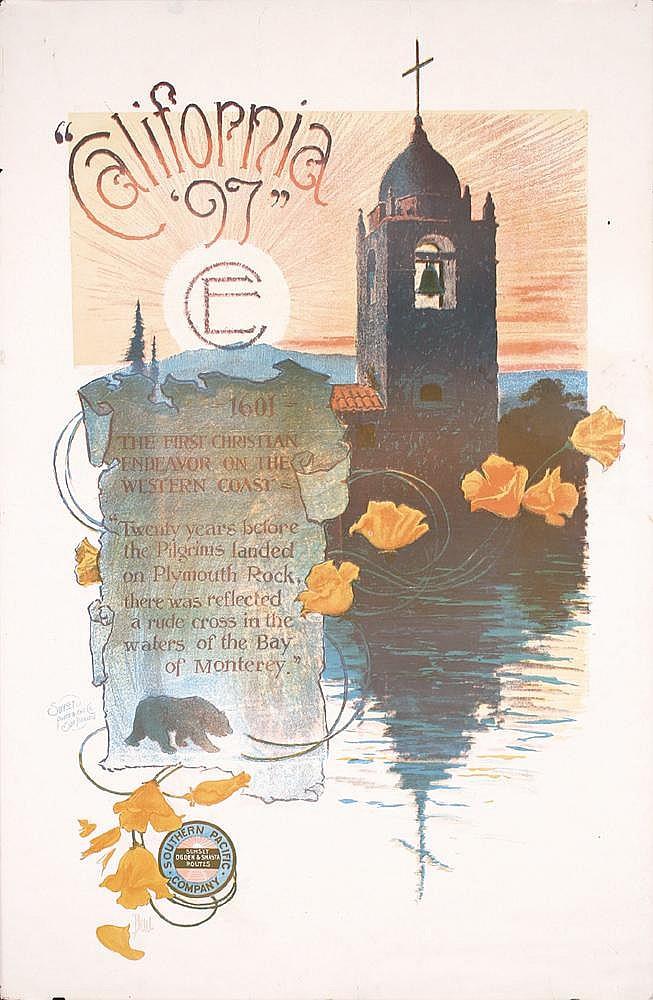 RARE Original 1890s SP Rail California Travel Poster