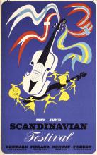 Original Vintage 1950s Scandinavian Music Poster