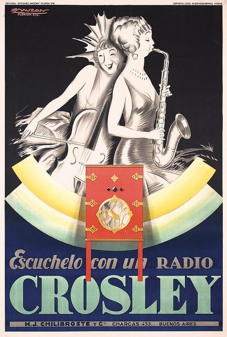 RARE Original 1929 MAUZAN Art Deco Crosley Radio Poster