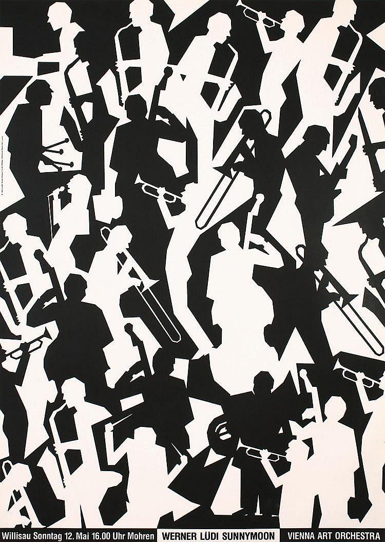 Original Swiss Modern Jazz Design Poster Troxler Plakat
