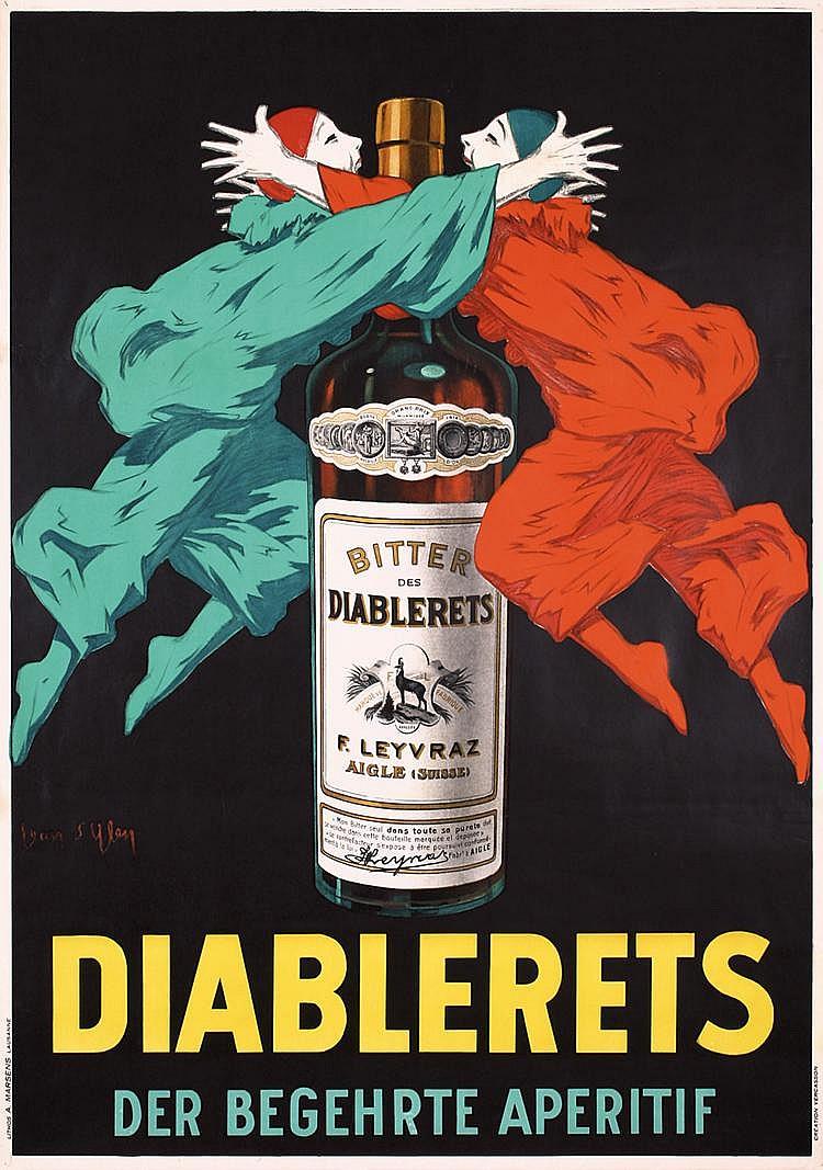 RARE 1920s Original Jean D´Ylen DIABLERETS Poster