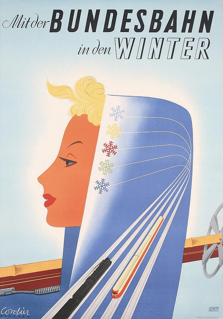 Original 1950s German Ski Rail Travel Poster DESIGN !