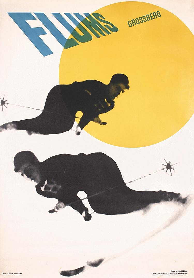 Old Original 1940s Swiss Ski Photomontage Travel Poster