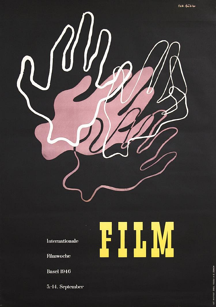 Original 1940s Swiss Modern Film Design Poster BUHLER