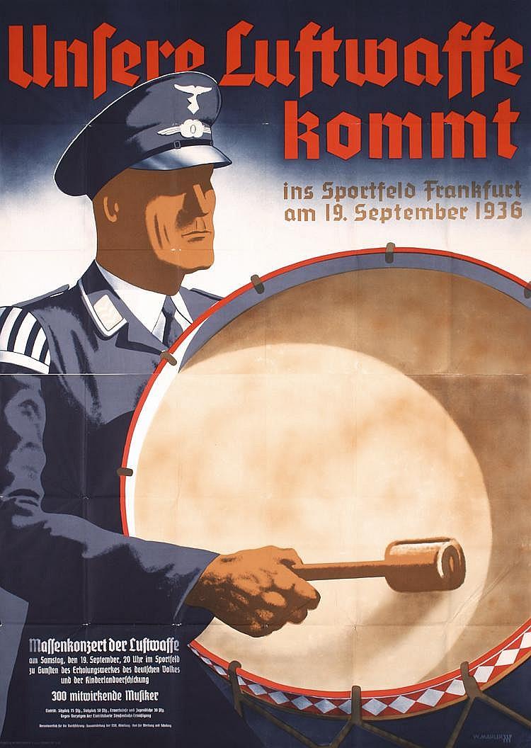 Rare Old 1930s German World War II Propaganda Poster