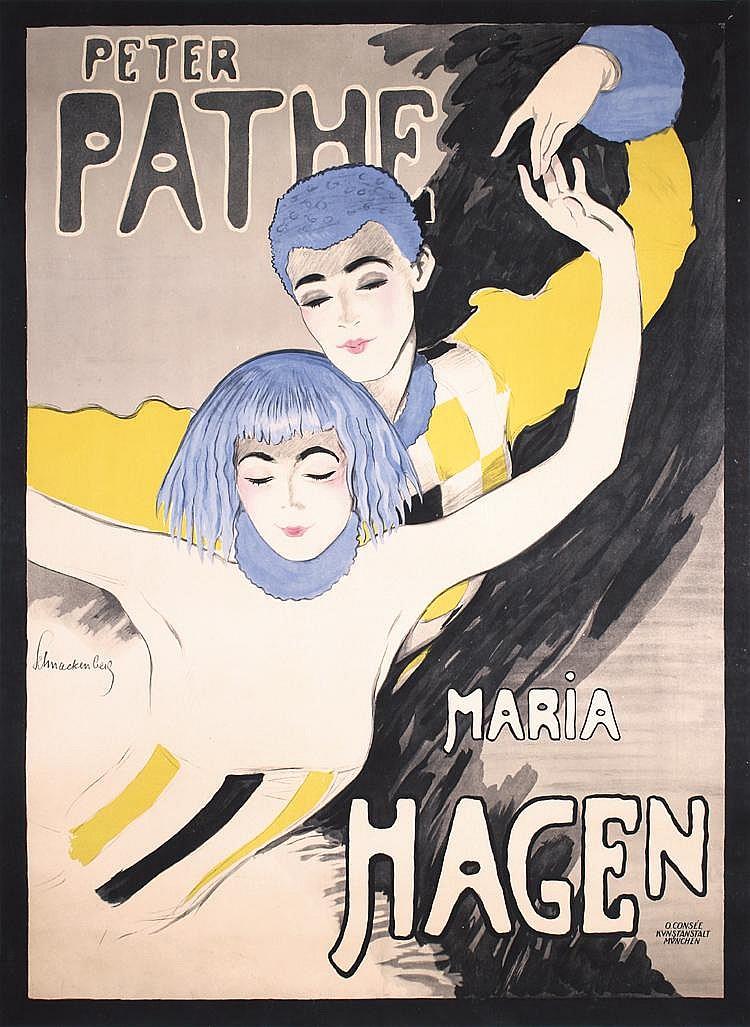STUNNING Original 1918 SCHNACKENBERG Poster Peter Pathe