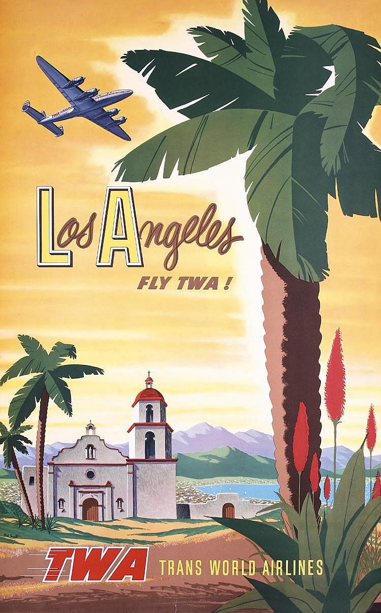 RARE ORIGINAL 1950s TWA Los Angeles Poster SMITH Art