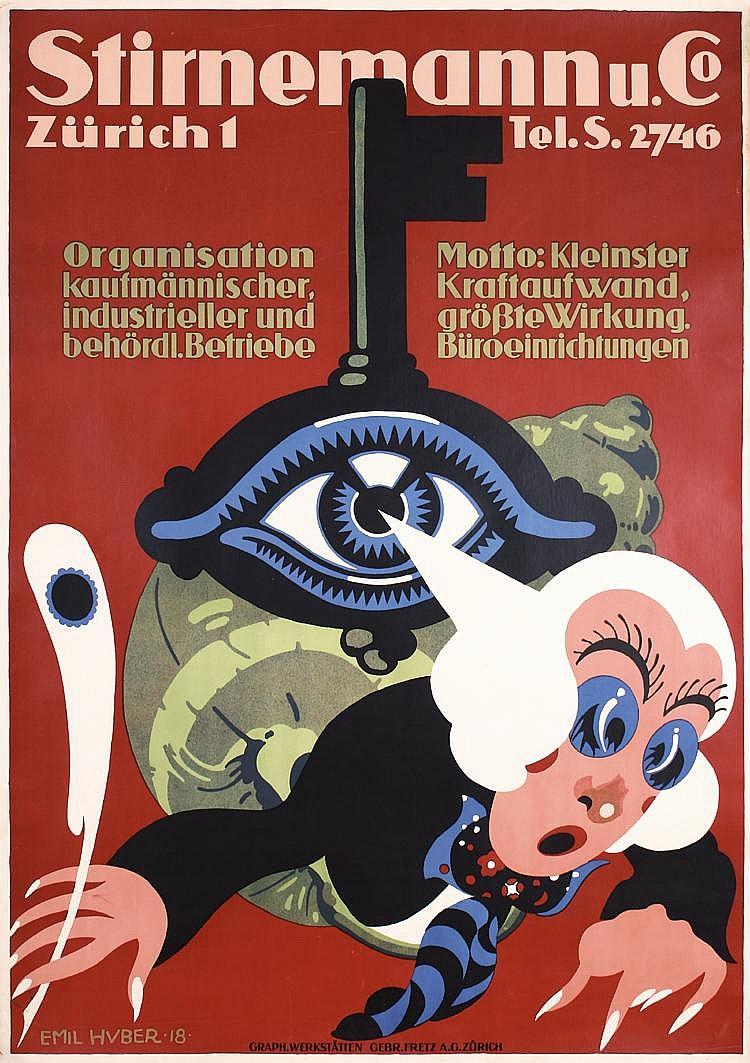 ORIGINAL1910s Swiss Advertising Poster EMIL HUBER