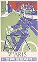 Original 1950s Swissair Travel Poster Paris FRANCE, Henri Ott, Click for value
