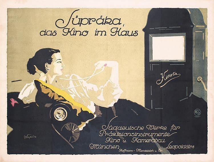 RARE 1920s Art Deco Home Cinema Film Poster Engelhard