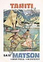 1950s Matson Line TAHITI Travel Poster Children, Louis Macouillard, Click for value