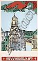 Original 1950s Swissair Travel Poster Stuttgart Germany, Henri Ott, Click for value