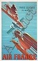 RARE Old Original 1930s AIR FRANCE Paris Poster VALERIO