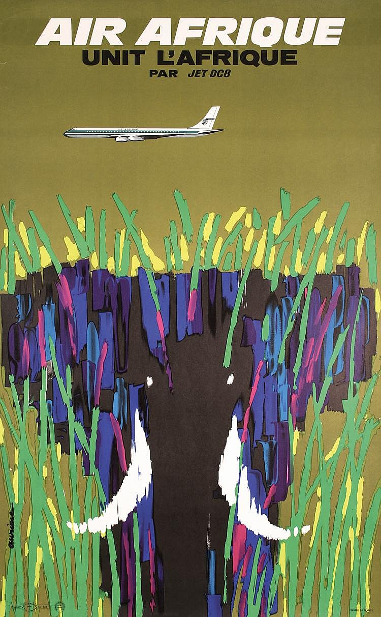 STUNNING OLD 1960s Air Afrique Elephant Travel Poster