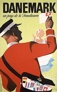 Original 1940s Danish Travel Poster THELANDER Design