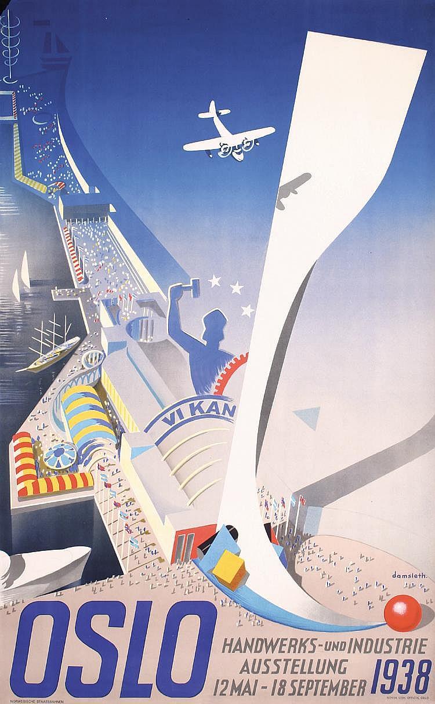 Original 1930s Oslo Norway Travel Poster GREAT DESIGN