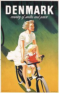 Beautiful 1940s Danish Travel Poster Mother Child Bike