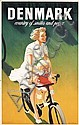 Beautiful 1940s Danish Travel Poster Mother Child Bike, Henry Thelander, Click for value