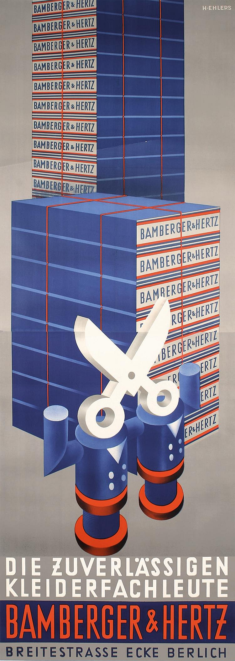Huge 1933 Bamberger Hertz Clothing Poster