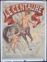 RARE Original Vintage 1890s Centaur Tire Poster Cupid