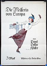 Original 1910s Ice Skating Champion Book Travel Poster