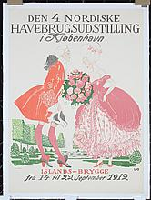 Original Vintage 1910s Danish Flower Exhibit Poster