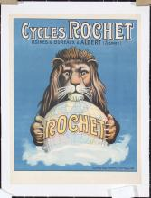 Original 1920s French Bicycle Rochette Poster LION