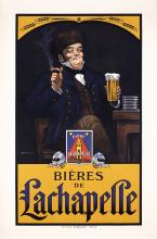 Old Original 1910s/20s Lachapelle French Beer Poster