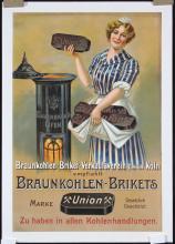 Original 1910s/20s German Coal Oven Advertising Poster
