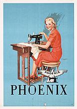 Original Vintage 1920s Phoenix Sewing Machine Poster