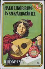 Old Original 1920s Hungarian Hazai Rum Liquor Poster