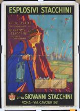 Original 1920s Italian Explovives Stacchini Rome Poster