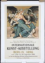 RARE Original Vintage 1890s Berlin Art Exhibtion Poster