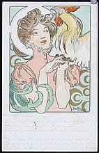 3 Original Vintage 1890s ALPHONSE MUCHA Postcards MOET+