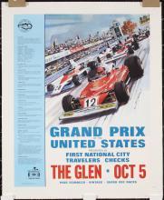 Original Vintage 1970s Grand Prix USA Racing Poster TUR