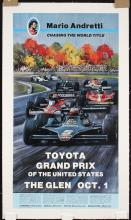 riginal Vintage 1970s Auto Grand Prix USA Racing Poster