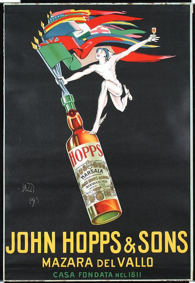 Original 1920s John Hopps Italian Liquor Poster