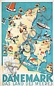 Old Original 1930s Sven Henriksen Travel Poster DENMARK, Sven Henriksen, Click for value