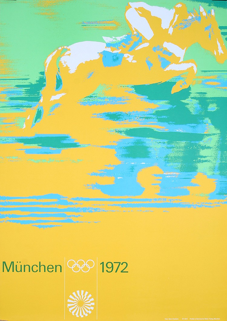 Great Original Munich Olympic Games horse jump poster