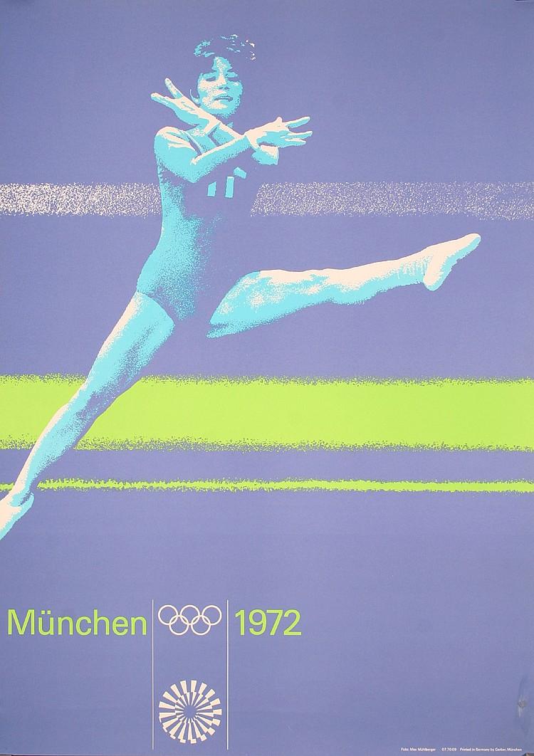 Original 1970s Munich Olympic Games Gymnastics poster