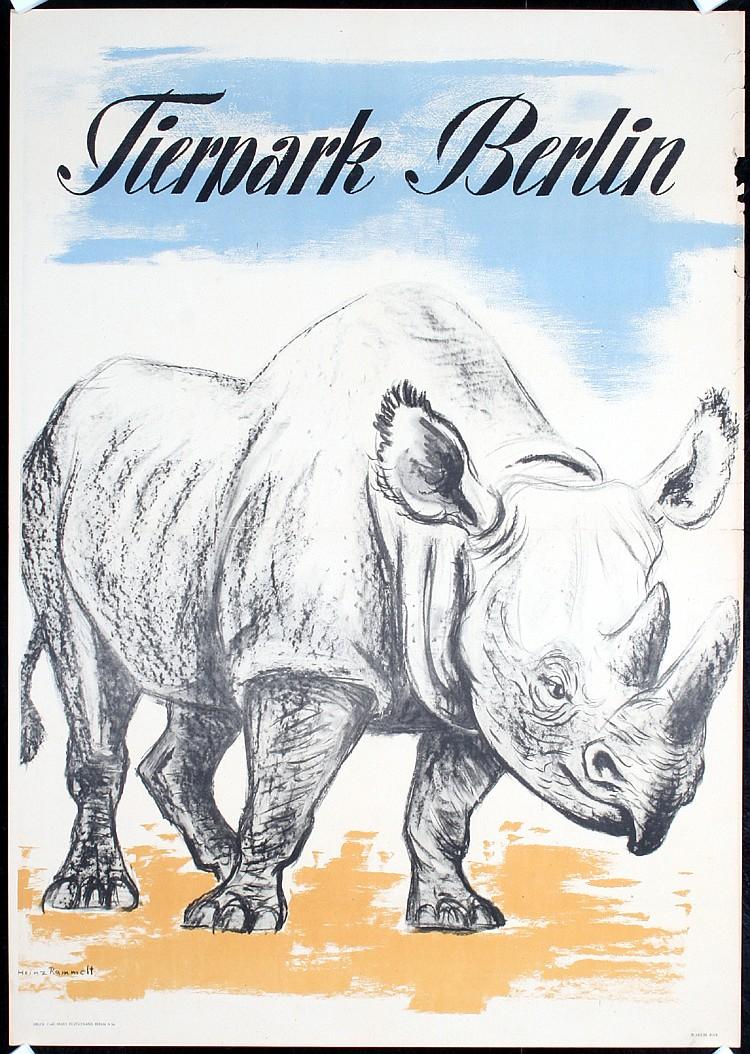 Original 1950s German Berlin Zoo Poster Rhinoceros