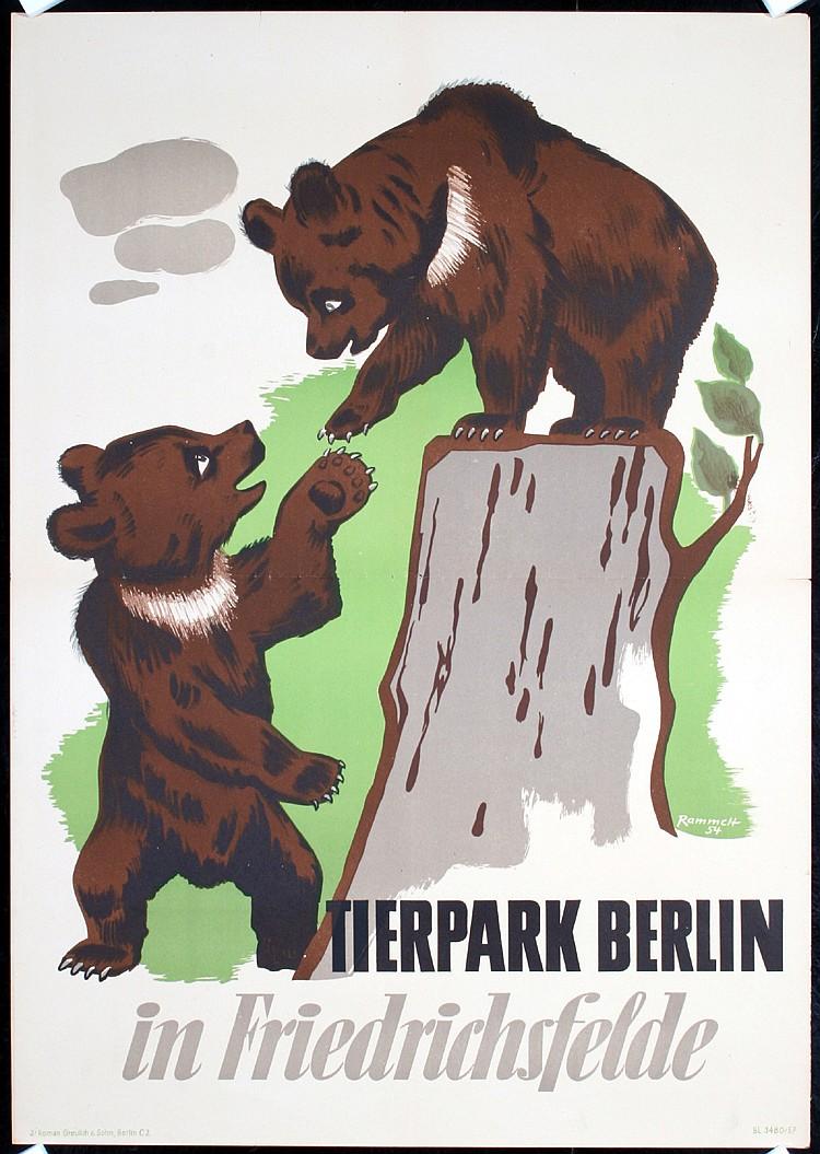 Original 1950s German Berlin Zoo Poster BEARS